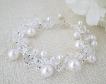 Statement cluster bridal bracelet, Swarovski crystal and pearl wedding bracelet, Large pearl bracelet, Mother of the bride jewelry