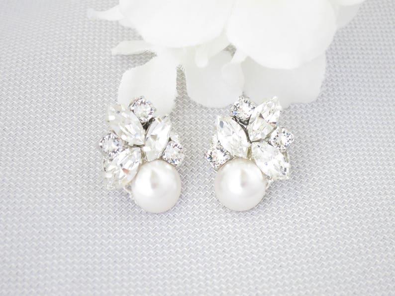86c327d8b Swarovski cluster stud earrings Rhinestone bridal earrings | Etsy