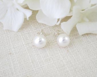 Pearl bridal studs Bridesmaid gift Simple pearl wedding jewelry 8mm pearl bridal earrings Pearl and sterling silver Minimalist earrings