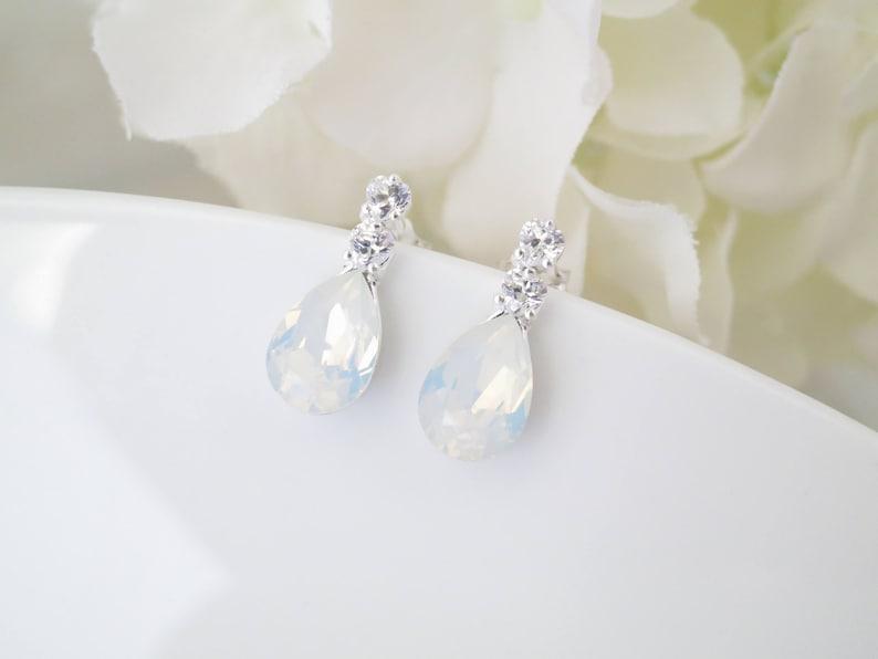 be953b932ca Teardrop wedding earrings Bridesmaid gift Simple bridal earrings Petite  rhinestone earrings Sterling silver studs Dainty crystal earrings