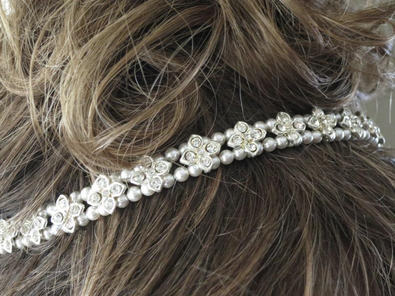 Rhinestone star headpiece Pearl hair piece Crystal hair vine image 0