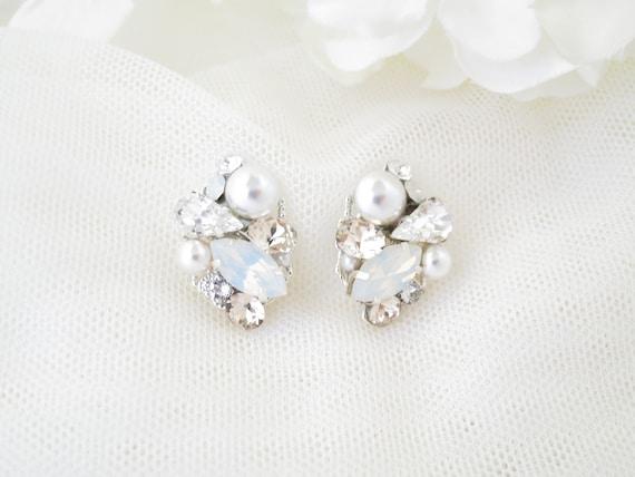 4481a9345 Pearl cluster earrings Opal stud earrings Asymmetrical   Etsy