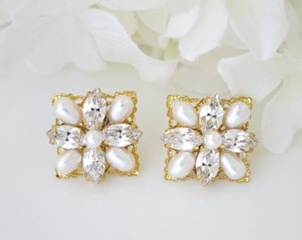 Square bridal earrings Freshwater pearl earrings Simple gold wedding earrings Vintage style jewelry Rhinestone jewelry for brides