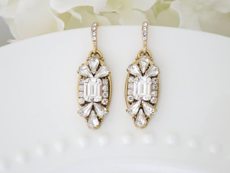 Art Deco earrings Gold bridal earrings Emerald cut Crystal image 0