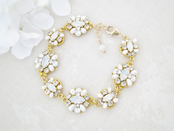 Fashion Opal /& White Fresh Water Pearl Cluster Bracelets Bangle