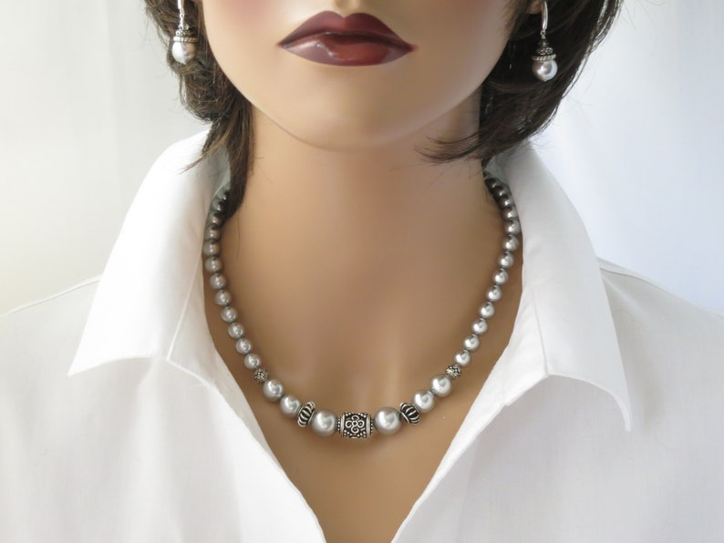 Gray pearl necklace Graduated pearl necklace Earrings and image 0