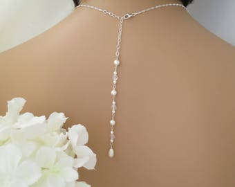 Pearl backdrop necklace Simple pearl bridal necklace Bridal back necklace Sterling silver wedding necklace Crystal jewelry for brides