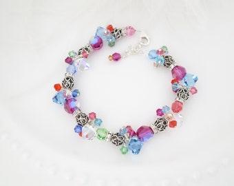 Colorful crystal bracelet Cluster bracelet Multicolor bracelet Unique jewelry gift for her Fuchsia bracelet Sterling silver beaded bracelet