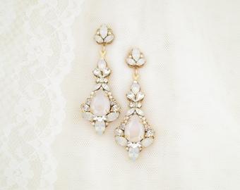 Blush Statement earrings Gold bridal earrings Opal wedding earrings Crystal teardrop earrings Long chandelier earrings for bride
