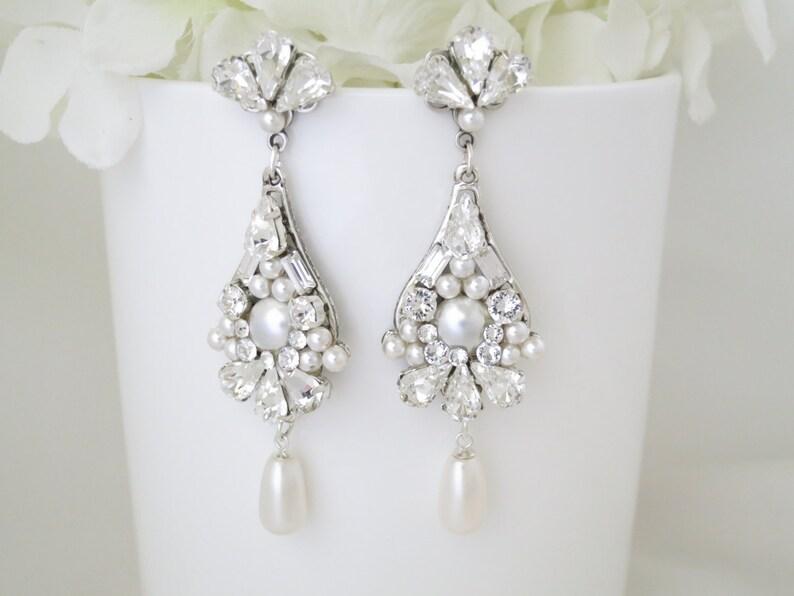 Pearl chandelier wedding earrings Statement bridal earrings image 1