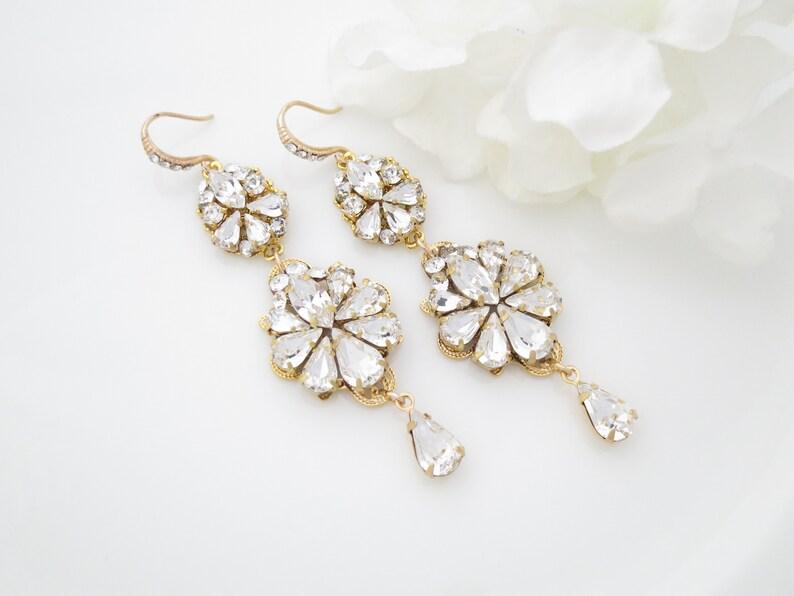a2c00ce0c6 Statement chandelier earrings Gold bridal earrings Long | Etsy
