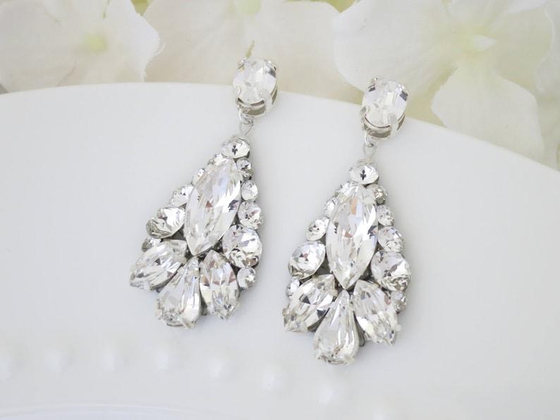 Teardrop earrings Statement bridal earrings Wedding earrings image 0