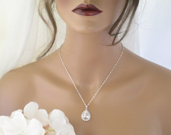 Large teardrop necklace Crystal bridal necklace Statement pendant necklace Rhinestone wedding jewelry for brides Simple bridal necklace