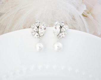 Pearl drop earrings Modern bridal earrings Statement wedding jewelry for brides Crystal wedding earrings Rhinestone earrings for brides