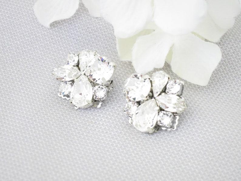 3389aa8c4 Crystal cluster earrings Wedding earrings for Bride Rhinestone | Etsy