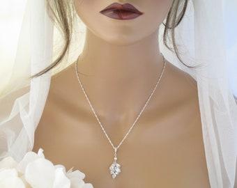 Crystal bridal necklace Unique leaf necklace Simple wedding necklace Crystal pendant necklace Rhinestone wedding jewelry for brides