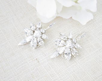 Star earrings, Trendy earrings, Swarovski crystal marquise dangle earrings, Petite rhinestone chandelier wedding earrings, Bridal earrings