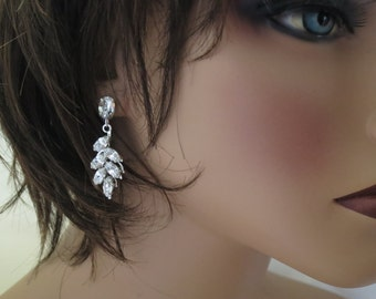 Crystal leaf bridal earrings, Rhinestone wedding earrings, Crystal drop earrings, Swarovski wedding jewelry, Marquise crystal earrings