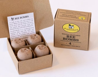 Bee Bombs - gift box of 4 wildflower seed balls for pollinators