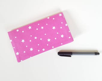 Checkbook / pink stars fabric check book