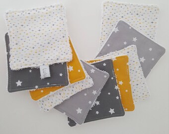 Set of 10 wipes for make-up removal, grey and yellow