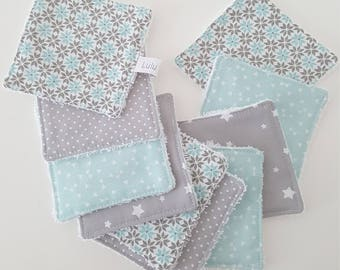 Set of 10 wipes for make-up removal, water blue/green and grey