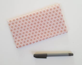Checkbook / pink gold star pattern fabric check book