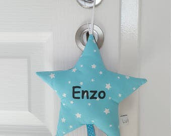 shooting star name or door cushion turquoise hang blue stars