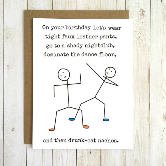 Funny Birthday Card Best Friend Him Her