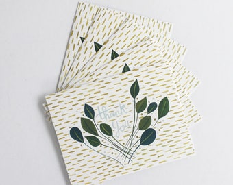 Geometric Thank You greeting cards -  set of five 5.5 x 4