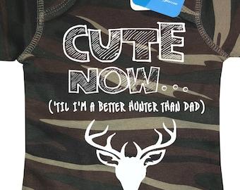 0b87ef8c ('Til I'm A Better Hunter Than Dad) Hunting Camo Deer Baby Bodysuit Pick  Size NB-18M duck fishing season bow arrow gift