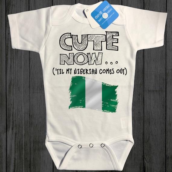 Baby Short-Sleeve Onesies Love Nigeria Flag Bodysuit Baby Outfits