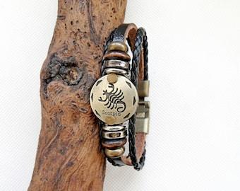 Scorpio leather bracelet, zodiac sign scorpion bracelet rings, multicolor bracelet Scorpion, bronze wood leather bracelet, Clasp bracelet,