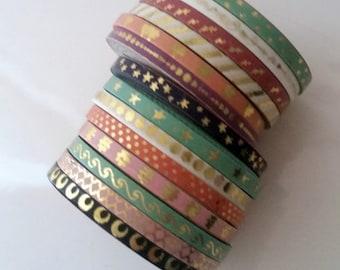 Skinny washi tape rolls - gold foil - dots, stars, moons, waves, lines, stripes, hearts, quartrefoil in pastel pink, peach, mint, purple