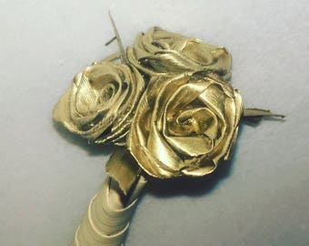 REAL GOLD ROSE 18k Gold Dipped Roses in a Bouquet