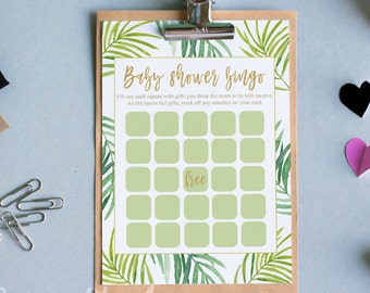 Botanical baby shower game template printable bingo game instant download baby shower bingo games tropical printable bingo party green