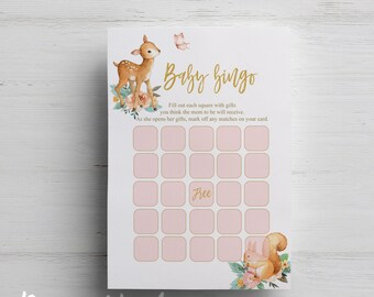 Woodland baby shower bingo printable game instant download watercolor bingo party game gold printable baby shower games animals wood cute