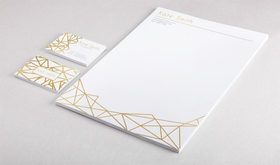 Gold business card template and letterhead design custom gold etsy image 0 reheart Images