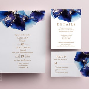 Watercolor Save the Date template gold glitter printable wedding invite design emerald wedding printables abstract modern save the dates