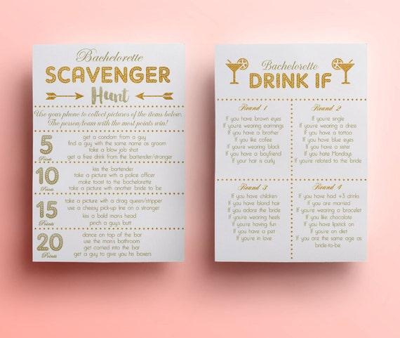 White bachelorette game template printable scavenger hunt game | Etsy