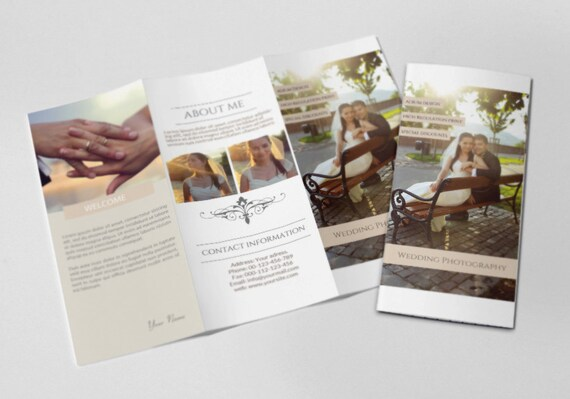 photography trifold brochure template elegant promotional etsy