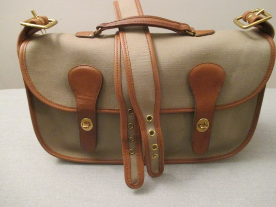 """COACH Vintage Leather & Twill """"Musette"""" Bag / Brie"""