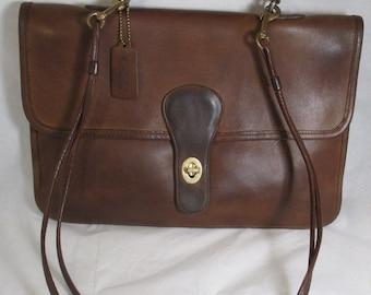 Vintage COACH Bonnie Cashin Brown Leather Double Sided Envelope/Saddle Briefbag/Handbag - Refirbished - GVC