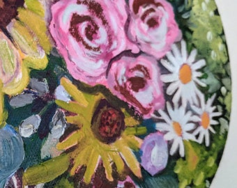 "Original Oil Painting: ""Bowl of Flowers"""