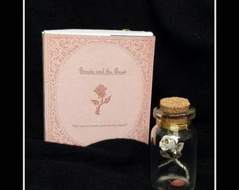 Beauty and the beast inspired miniature vintage book page rose trinket jar with gift box.