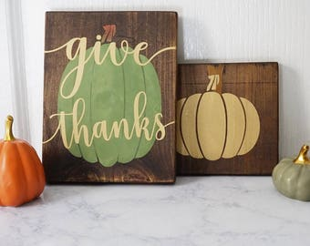 Small Reclaimed Wood Signs for Fall - Scrappy Pumpkins and Sayings on Reclaimed Wood - Small Rustic Fall Decor - Scrap Wood in Varying Sizes