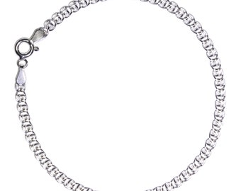"""7.5 inch 925 STERLING SILVER Chain Bracelet Heart Shaped Link 7.5/"""" Rhodium Plate"""
