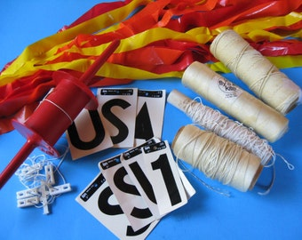 8 - 1980's KITE ACCESSORIES:  Go Fly A Kite Spectra Star SPOOL Reel Lines Tails etc.