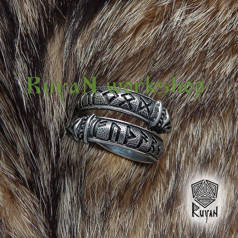 Elder Futhark Rune Ring Ring with Elder Futhark rune and Dragon Runic ring Viking Runes