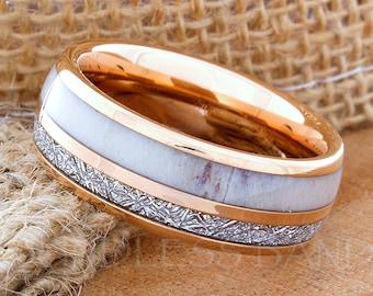 Tungsten Ring Tungsten Wedding Ring Meteorite Deer Antler Etsy